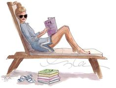 Inslee Haynes Fashion Illustration The Sketch Book Foto Fashion, Fashion Art, Style Fashion, Preppy Southern, Southern Belle, Illustration Mode, Beach Illustration, Woman Reading, I Love Books