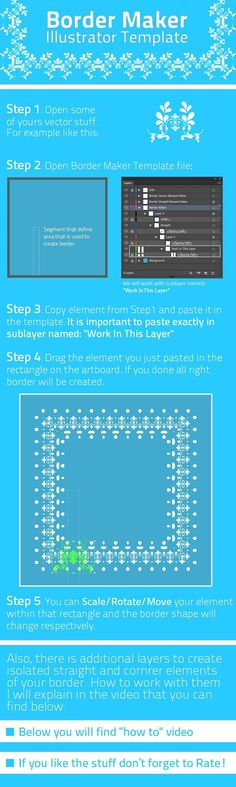Buy Border Maker Template by GarryKillian on GraphicRiver. AI Template that is producing border from yours elements. You can draw inside marked region – and border will be prod. Photoshop Brushes, Photoshop Actions, Motif Oriental, Illustrator Tutorials, Adobe Illustrator, Ecommerce Logo, Web Design, Graphic Design, Logo Images
