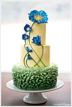 AMAZING!! Blue Poppy Flowers Cake by Fondant Flinger