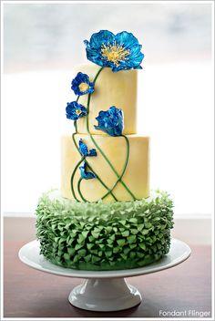 AMAZING!! Blue Poppy Flowers Cake by Fondant Flinger