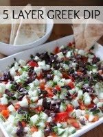 The Lovely Cupboard Go Greek: 5 layer Greek dip (hummus, cucumber, olives, feta, red bell pepper, dill)