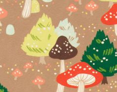 North Pole Mushroom in Cocoa by Alexander Henry - 1 Yard Brown Fabric - Mushroom Fabric - Fir Trees - Quilt Fabric  Modern Quilt - Holidays