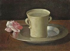 Francisco de Zurbaran - Cup of Water and a Rose on a Silver Plate, c. Oil on canvas, x cm, National Gallery, London Canvas Art Prints, Canvas Wall Art, Oil On Canvas, Caravaggio, Henri Matisse, Francisco Zurbaran, National Gallery, Art Watercolor, Baroque Art