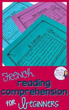 These French reading comprehension activities are just the right challenge for beginning Core French and FSL students. French Flashcards, French Worksheets, Reading Comprehension Activities, Reading Passages, Teaching French Immersion, Learning Sight Words, Core French, French Class, French Education
