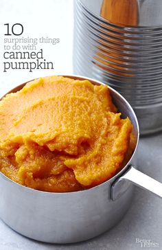 Grocery stores may put the canned pumpkin next to the piecrusts, but we say this handy ingredient goes way beyond pumpkin pie. Sink your fork (or spoon, or even your fingers) into these fresh ideas for bringing canned pumpkin into the kitchen. Thanksgiving Recipes, Fall Recipes, Holiday Recipes, Holiday Foods, Bhg Recipes, Thanksgiving Projects, Thanksgiving Desserts, Sweets Recipes, Recipes