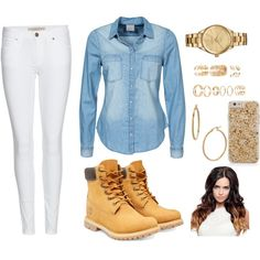 A fashion look from December 2015 featuring Vero Moda blouses, Burberry jeans and Timberland boots. Browse and shop related looks.