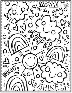 Rainbow & Sunshine Coloring Page! Whether you're looking for a printable for your students, or yourself, this one is perfect! Spring Coloring Pages, Flower Coloring Pages, Mandala Coloring Pages, Christmas Coloring Pages, Colouring Pages, Printable Coloring Pages, Adult Coloring Pages, Coloring Books, Kindergarten Coloring Pages