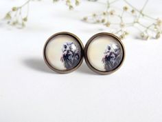 Owl Earrings Woodland Jewelry Bird Earrings Stud Earrings Creme Gray Gift For Her