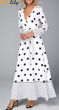 Polka Dot V Neck Belted White Maxi Dress On Sale At Modlily. White Maxi Dresses, Spring Dresses, Tight Dresses, Women's Dresses, Dresses Online, Casual Dresses, Fashion Dresses, Casual Outfits, Polka Dot Maxi Dresses