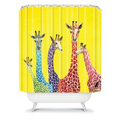 DENY Designs Clara Nilles Jellybean Giraffes Shower Curtain, by Who says bathrooms can't be fun. Extra Long Shower Curtain, Long Shower Curtains, Fabric Shower Curtains, Giraffe Colors, Giraffe Fabric, Contemporary Shower, Curtain Accessories, Bathroom Accessories, Shower Liner
