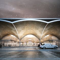 Rostov Airport Competition, HAPTIC Architects by Forbes Massie, via Behance Architecture Visualization, 3d Visualization, Modern Architecture, Arcade Architecture, Forbes Massie, Airport Design, Interior Exterior, Presentation Design, Facade