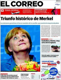 Los Titulares y Portadas de Noticias Destacadas Españolas del 23 de Septiembre de 2013 del Diario El Correo ¿Que le pareció esta Portada de este Diario Español?
