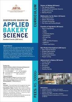 Enroll now for #8Weeks Certificate Course on Applied Bakery Science at #AIBTM, Greater Noida. Email us at aibtm@aibtm.in