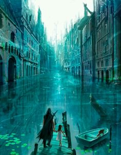 Venice like fantasy city with canals Fantasy City, Fantasy Places, Fantasy World, Creation Art, Fantasy Landscape, Story Inspiration, Art Plastique, Oeuvre D'art, Amazing Art