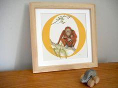 O for Ourangutan  Nursery Alphabet Art by huxleyjonesdesigns