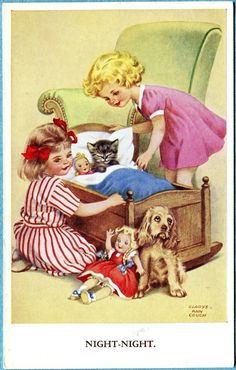 Gladys Couch card | eBay Images Vintage, Photo Vintage, Vintage Cat, Vintage Children's Books, Vintage Girls, Vintage Pictures, Cute Pictures, Vintage Greeting Cards, Vintage Postcards