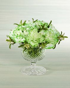a colored carnation arrangement