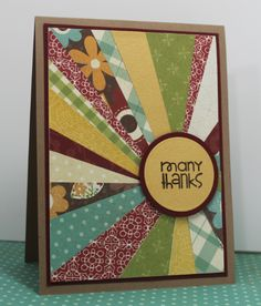 "Got paper scraps? Here's your solution! Follow the easy tutorial to make this great starburst pattern out of your scraps. Just add a ""many thanks"" or similar sentiment for this DIY thank you card."