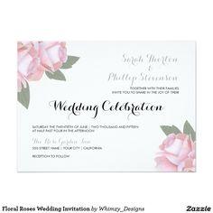 "Floral Roses Wedding Invitation 5.5"" X 7.5"" Invitation Card"