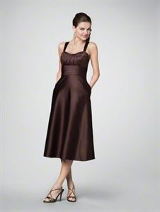 Brown Tea Length Bridesmaid Dresses, Chocolate Brown Cocktail Dresses   $96.00