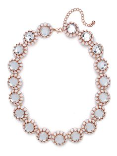 Sophisticated, posh and oh-so-glam — this is one statement necklace you need this season. It features a romantic bloom motif that's actually crafted from rose gold and lovely ivory, petals and all.