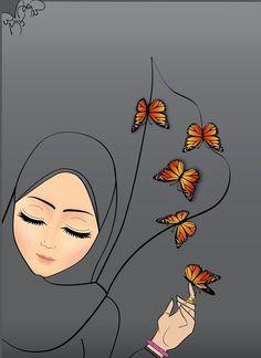 Muslimah Source by gulsnglz Plate Drawing, Hijab Drawing, Butterfly Books, Islamic Cartoon, Anime Muslim, Hijab Cartoon, Gun Art, Cute Couple Art, Beautiful Sketches