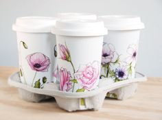Personalized for You with Botanical Design - White Ceramic Eco Friendly Travel Mug Double Walled Porcelain with Lid