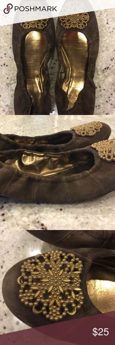 Tahari flat suede size 9 Cute, comfy flats. Ballet style and a brown-taupe color, suede! Great brass floral detail at toe. Tahari Shoes Flats & Loafers