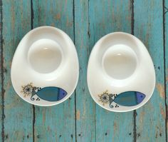 Rare Pair of Figgjo Flint Ceramic Egg Cups Green Blue Clupea Fish Pattern made in Norway by ValleyGirlTreasures on Etsy