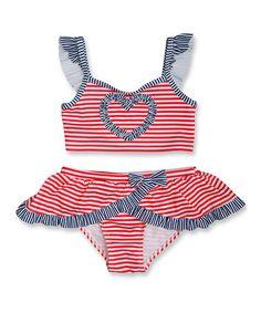 Red & White Born In the USA Bikini - Toddler & Girls by Penelope Mack #zulily #zulilyfinds