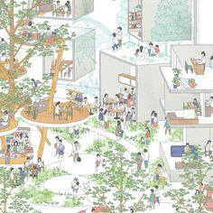 未来の集合住宅 Site Analysis Architecture, Architecture Concept Drawings, Architecture Collage, Architecture Graphics, Architecture Design, Site Portfolio, Axonometric Drawing, Interactive Walls, Library Inspiration