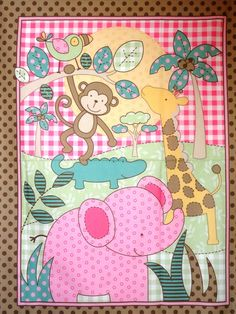 Pink & Brown Jungle Baby Quilt Panel