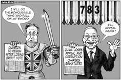 Cartoons by Miles - When you have 783 swords hanging over your head, what do you do, Mr President? Miles offers a hint