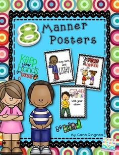 This is a set of posters I use to help remind my kiddos of good manners in the classroom.  There are 8 color posters included. They focus on:Say Please and Thank youCover your mouthBe KindTake turnsListenShareKeep Hands and feet to yourselfShareRaise your handIf you like these posters, there is a reader that I wrote to accompany them.