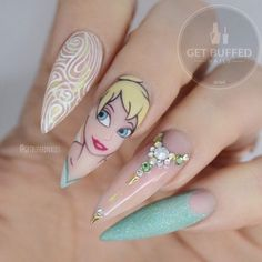 TINK!! ✨ Faith, Trust and a little Pixie dust ✨ Tag someone who loves TINKERBELL!!! @gfa_australia Gel Polish Pinkie nail @kiaraskynails temperature change sour apple Glitter from @glitter_heaven_australia Bling from @embellishedbyjaydean Pointy gold studs from @donutnailshop ✨ Matte Top coat from @swan_nails