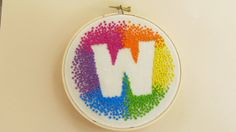 "Custom Initial Rainbow Hand Embroidery Hoop Art, 5"" Wood Hoop, Choose your Letter"