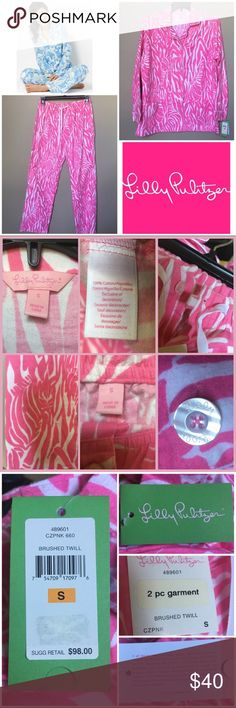 Hidden Zebra Pajama Set Lilly Pulitzer Awesome with all tags Lilly PJs. You can't purchase the set retail any longer. Love this set with the hidden zebras. Top has two POCKETS. Bottoms are elastic waist, plus button & tie. Measurements upon request. 1st photo contains stock image to show similar style, last photo shows current pricing of their knit pajama bottoms only. My blue ones sold. These would make a great Christmas gift 🎁.   •Smoke free, hypoallergenic pet friendly home; we have a…
