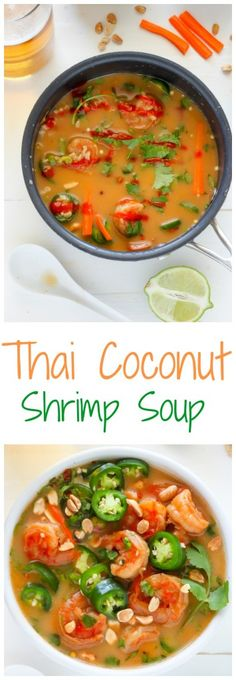 Thai Coconut Shrimp Soup - quick, easy, and SO delicious! Ditch the delivery and make this instead!