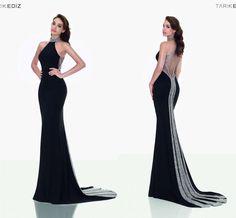 2016 Black Tarik Ediz Mermaid Evening Dresses Sexy Cutaway Halter Neck High  Neck Beaded Illusion Evening 3dead57db3a7