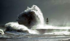 Huge waves batter Seaham Harbour in County Durham,