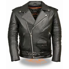 Milwaukee Side Lace Mens Classic Belted Motorcycle M/C Biker Jacket is made of premium leather with side laces for size adjustment, snap down lapels, in a classic belted for clubs and classic motorcycle riders.