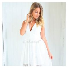 Lace is so on trend this season! Shop the gorgeous 'Alyssa Lace Dress in White' now at shop.stfrock.com.au for $89.90! Also available in black!  #stfrock #lace #dress #white #style