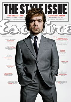 Peter Dinklage on the cover of Esquire's spring style issue wearing a made-to-measure suit by Giorgio #Armani.