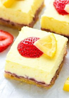 Strawberry Lemon Cream Cheese Bars — Buttery shortbread crust topped with a bright and creamy lemon cheesecake and layer of strawberry jam. from @wellplated