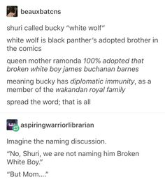 Black Panther: They didn't just fix Bucky in Wakanda, they adopted him. Oh, my heart! Marvel Jokes, Avengers Memes, Marvel Funny, Marvel Dc Comics, Marvel Avengers, Shuri Black Panther, Fangirl, Johnlock, Destiel