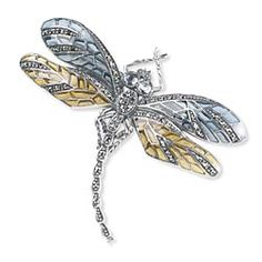 Silver Jeweled Dragonfly Brooch