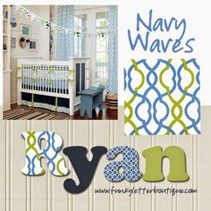 The Funky Letter Boutique: Make Waves Hand Painted Boy's Nursery Wall Letters