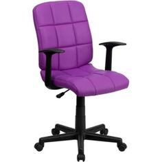 Simmons Vinyl Quilted Cushion Task Chair // Purple