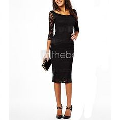 Women's Solid/Lace Black/Purple Dress, Sexy/Bodycon Round Neck ¾ Sleeve Midi - USD $9.79