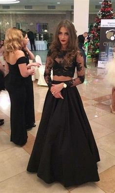 Custom Charming Two Pieces Prom Dress,Black Lace Evening Dress